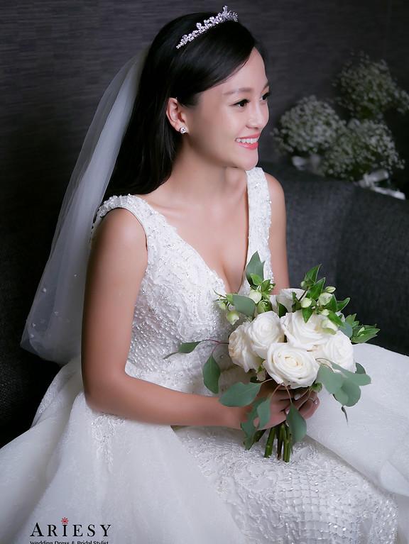 新娘白紗造型,迪士尼公主新娘造型,新娘皇冠髮型,愛瑞思,ARIESY,黑髮新娘