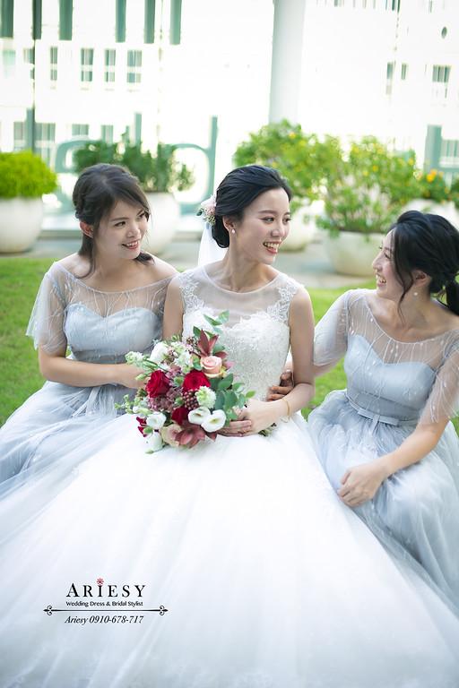 台北新秘推薦,氣質典雅黑髮新娘造型,新娘秘書,手作紅色美式捧花,愛瑞思,ARIESY