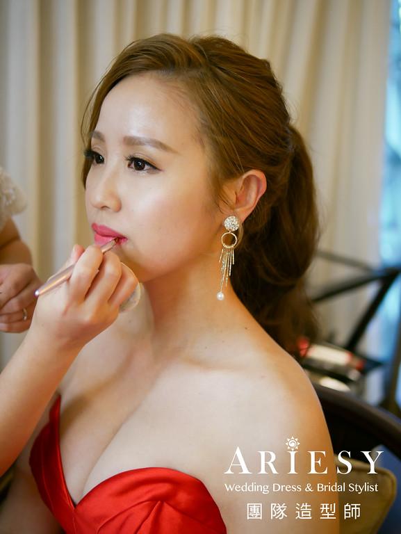 紅禮服造型,敬酒髮型,時尚髮型,新娘髮型,歐美新娘髮型