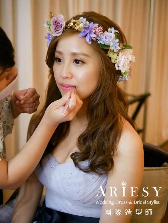 新秘推薦,送客髮型,鮮花花環,新娘鮮花造型,水藍色禮服造型