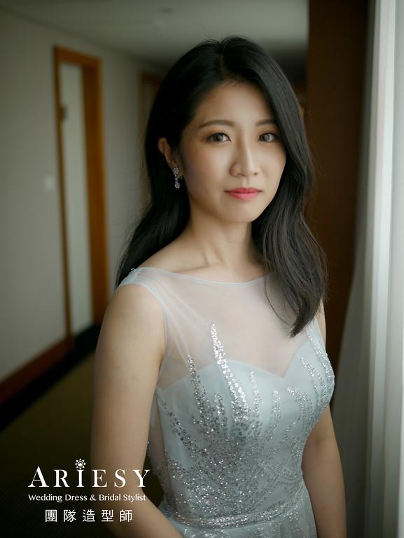 敬酒髮型,新娘髮型,台北新秘,黑髮新娘,歐美風格