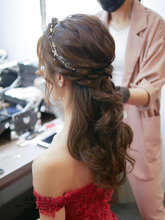 新娘秘書,送客新娘髮型,台北新秘推薦,新莊晶宴,愛瑞思,Ariesy,編髮新娘造型