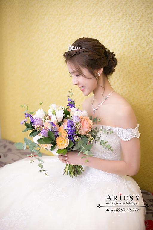 新娘秘書,白紗新娘髮型,台北新秘推薦,新娘捧花訂製,愛瑞思,Ariesy,編髮新娘造型