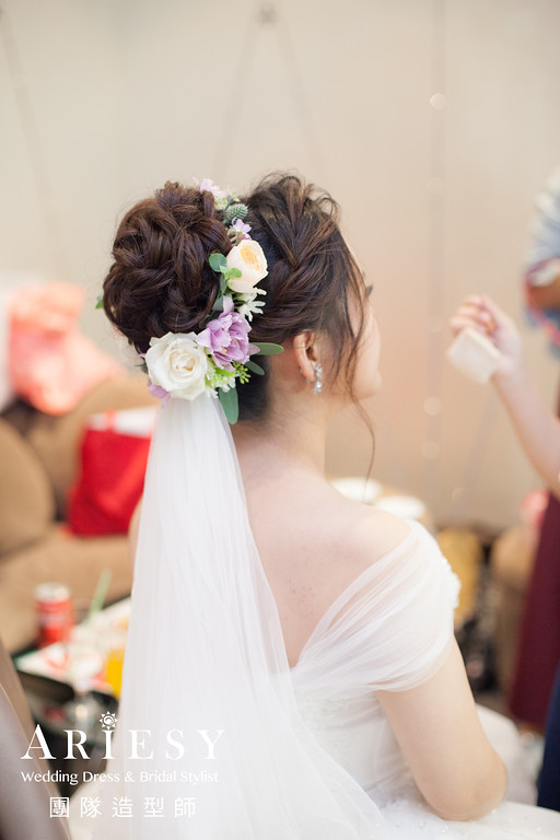 白紗進場髮型,編髮造型,新娘鮮花造型,新秘,新娘髮型