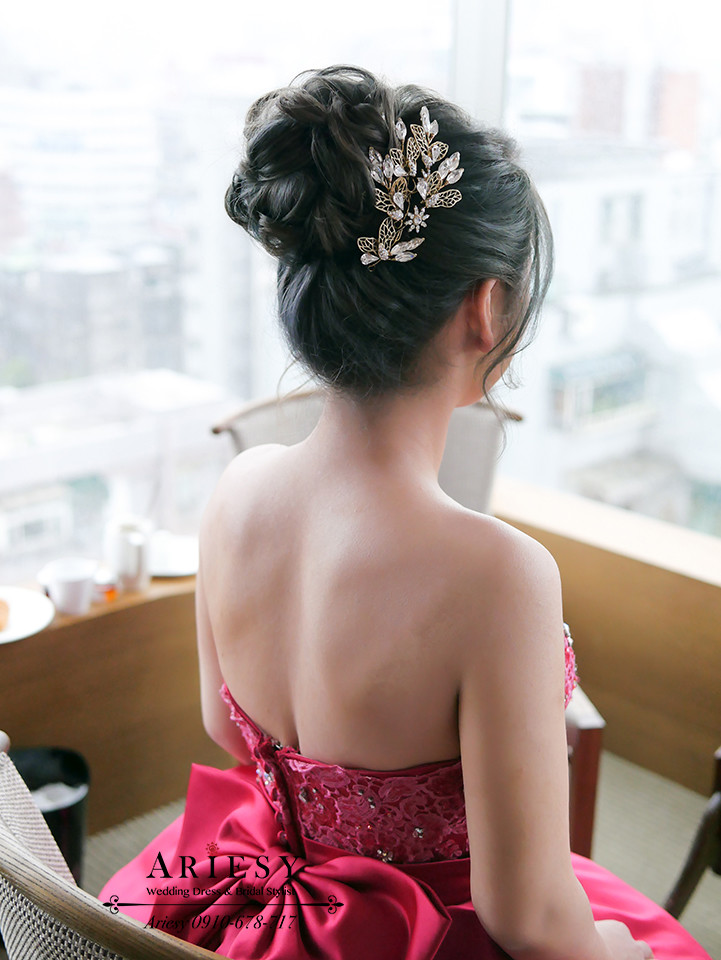 文定造型,編髮造型,紅色禮服,愛瑞思,台北新秘推薦