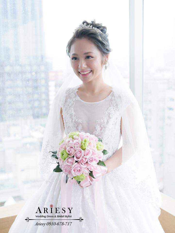 台北新娘秘書,新娘髮型,進場造型,ARIESY,晶華酒店,歐美髮色