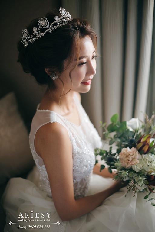 新娘秘書,新秘,台北新秘推薦,皇冠白紗造型,名媛新娘髮型,新娘秘書推薦愛瑞思,愛瑞思ariesy婚紗禮服