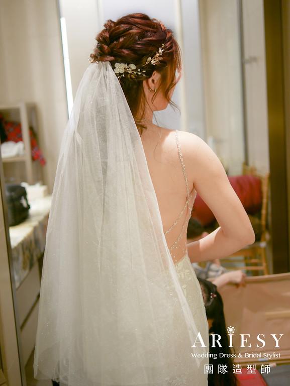 迎娶造型,編髮造型,新娘溫柔妝,新娘白紗造型,公主頭造型