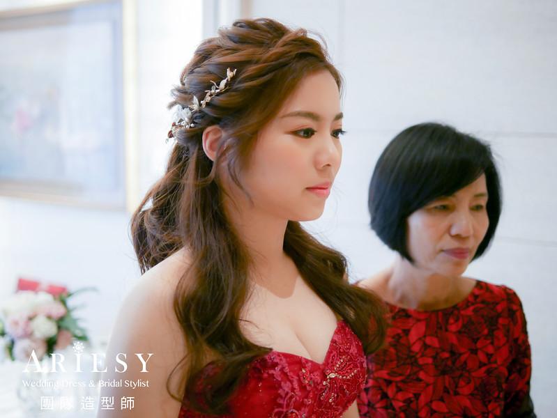 文定髮型,紅色禮服造型,台北新秘,新娘編髮,編髮公主頭造型