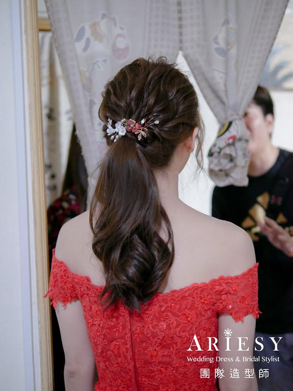 文定髮型,紅色禮服造型,新娘馬尾造型,台北新秘,線條馬尾