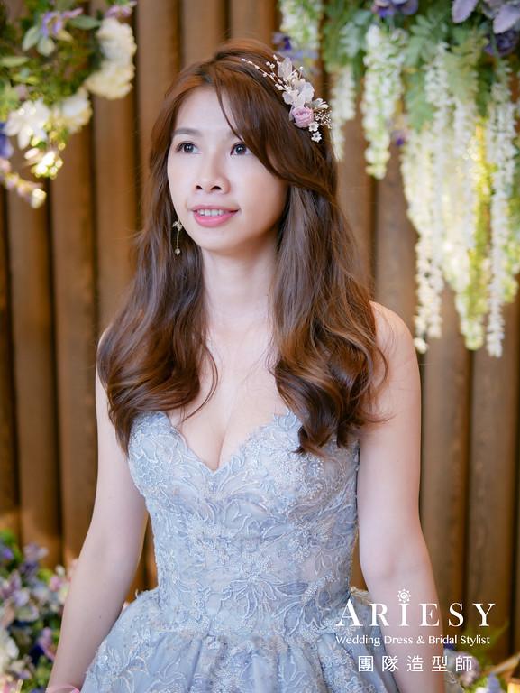 送客髮型,放髮造型,新娘鮮花髮型,新秘花藝,台北新秘
