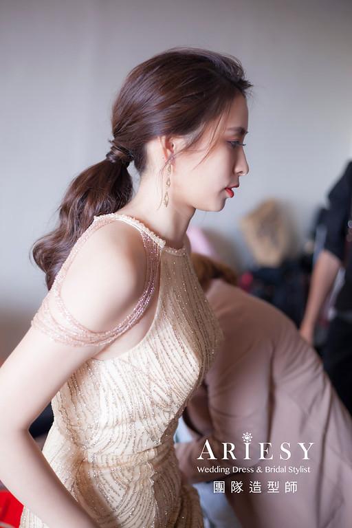 台北新祕,新娘秘書,新娘造型,編髮新祕,馬尾造型,自然清透妝感,新娘髮型,編髮造型,名媛風造型