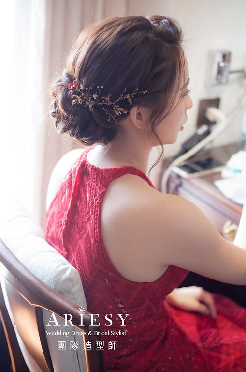 台北新祕,新娘秘書,新娘造型,編髮新祕,文定造型,自然清透妝感,新娘髮型,編髮造型,紅禮服造型