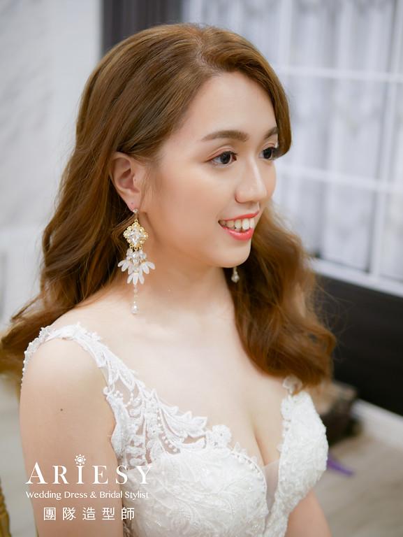 送客髮型,放髮造型,名媛風格,台北新秘,氣質新娘造型