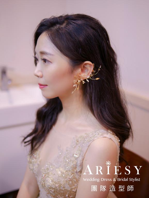 送客髮型,新秘手作花藝,台北新秘,金色禮服造型,花耳環