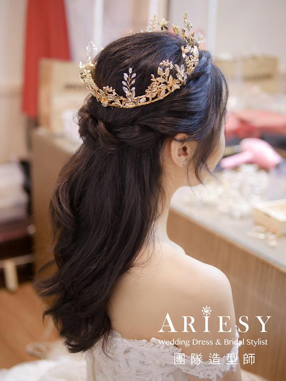 進場髮型,新娘造型,新秘推薦,新娘自然妝感,白紗放髮造型