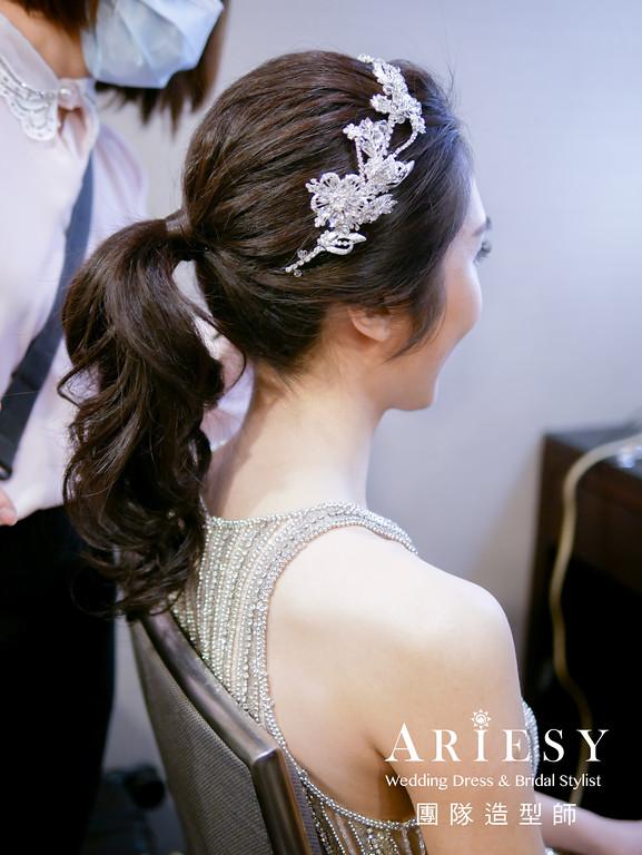 敬酒造型,馬尾造型,新秘,新娘髮型,銀色禮服造型