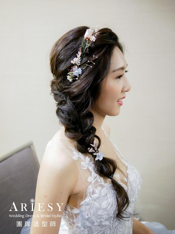 送客造型,編髮造型,新娘自然妝感,新娘髮型,藍色禮服造型