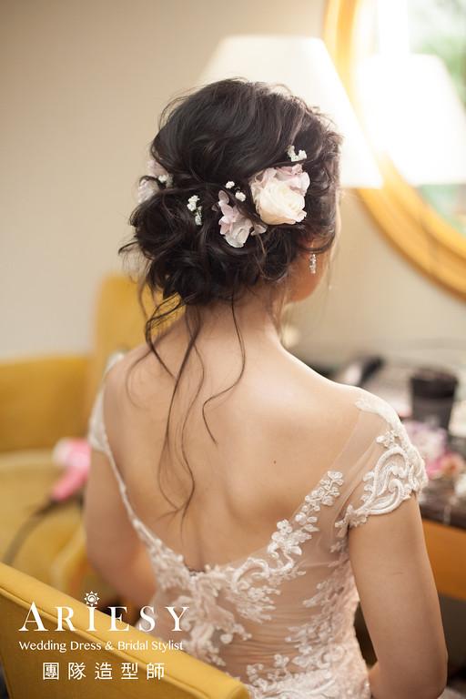 新娘秘書推薦,敬酒造型,鮮花飾品,新秘花藝,黑髮造型