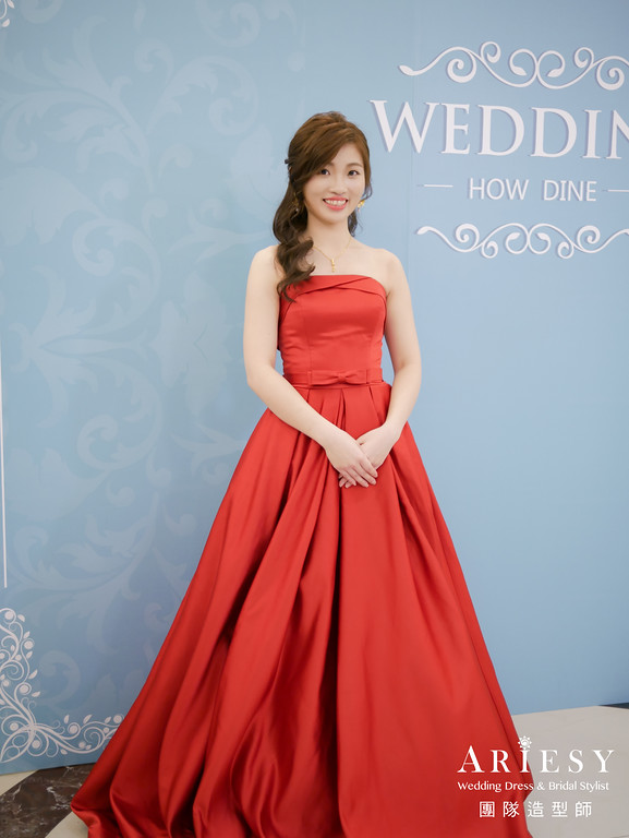 送客造型,公主頭造型,新娘髮型,新娘妝,紅色禮服造型