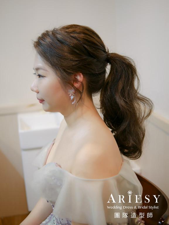 敬酒造型,新娘馬尾造型,新秘手工飾品,新娘妝,新娘髮型