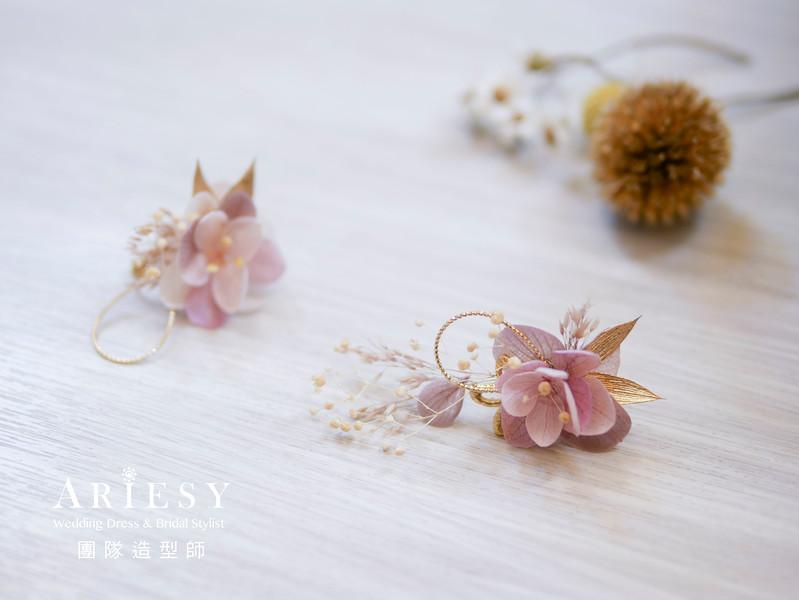 新秘花藝,花藝造型,不凋花耳環,新娘鮮花造型,台北新秘