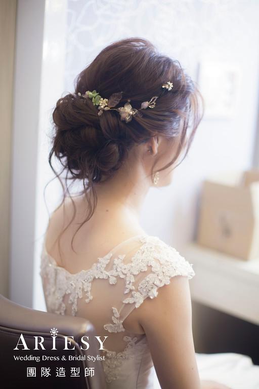白紗進場髮型,編髮造型,新娘秘書,新娘秘書推薦,花藝造型
