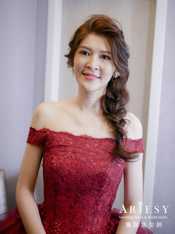 送客造型,編髮造型,不凋花耳環,新娘髮型,台北新秘