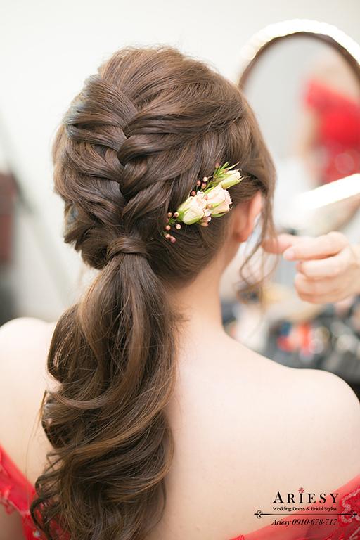新秘,編髮新娘造型,馬尾髮型,文定造型,台北新秘,新娘自然妝感