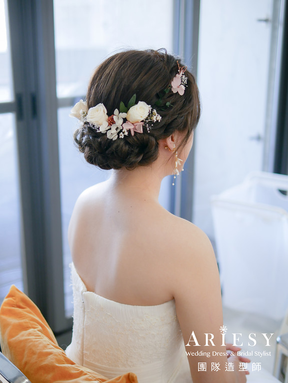 證婚髮型,新秘花藝,新娘編髮造型,新娘鮮花造型,台北新秘