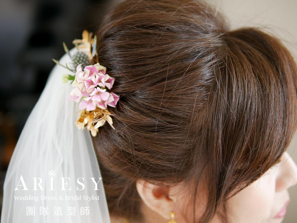 迎娶造型,新秘編髮,短髮新娘,新娘髮型 ,新娘鮮花造型