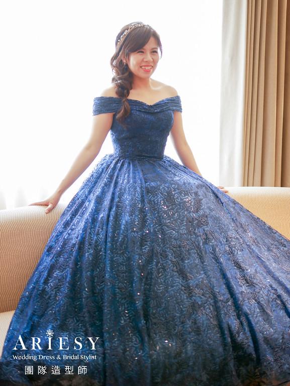 新秘推薦,送客造型,新秘編髮,短髮新娘,深藍色禮服