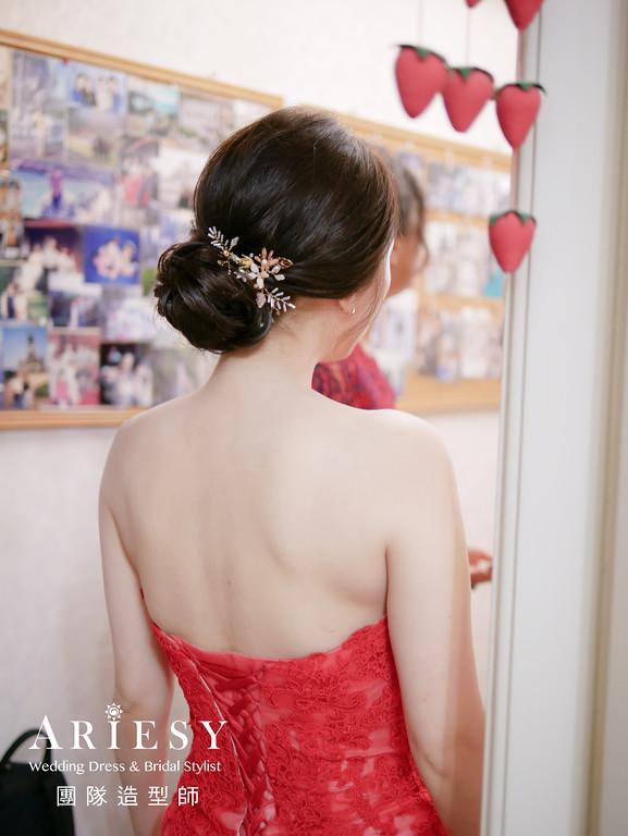 文定髮型,紅色禮服造型,新秘手工飾品,韓式風格造型,新娘髮型