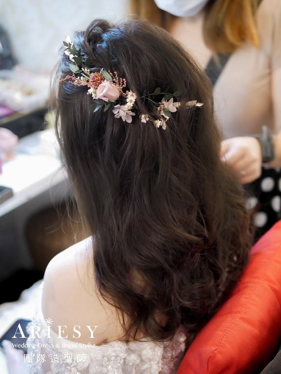 進場髮型,編髮花藝造型,新秘花藝,新秘,放髮造型