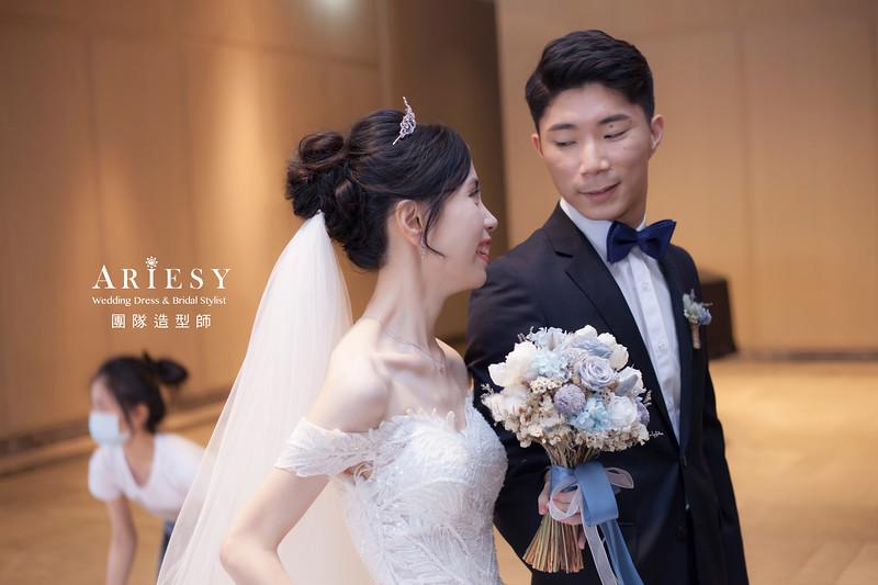 台北新祕,新娘秘書,新娘造型,蓬鬆編髮,白紗造型,自然清透妝感,黑髮新娘,黑髮造型,萬豪婚宴