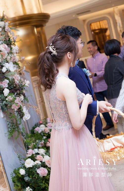 台北新祕,新娘秘書,新娘造型,新娘編髮,送客造型,自然清透妝感,新娘髮型,馬尾造型,推薦新秘