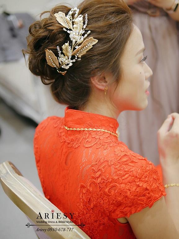 旗袍造型,新娘造型,新秘,台北新娘秘書,歐美風新娘,小麥膚色新娘,板橋彭園婚禮,紅色禮服造型