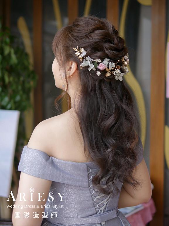 送客造型,新娘花藝造型,新秘花藝,花耳環,新娘編髮公主頭