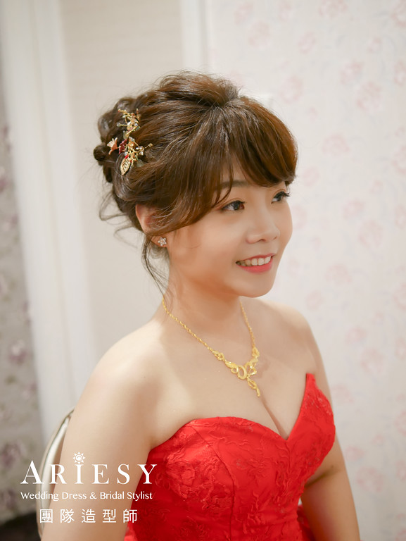 文定髮型,紅色禮服造型,台北新秘,新娘編髮,自然新娘妝