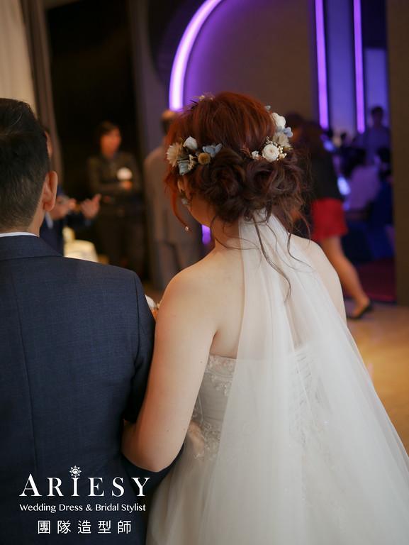 白紗進場髮型,編髮造型,台北新秘,新秘花藝,新娘花藝造型