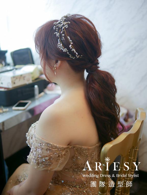 敬酒造型,金色禮服造型,新秘,新娘低馬尾,新娘髮型