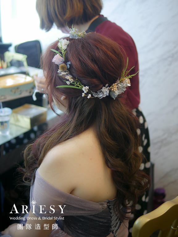送客造型,新秘花藝,花圈造型,新娘公主頭,花藝造型