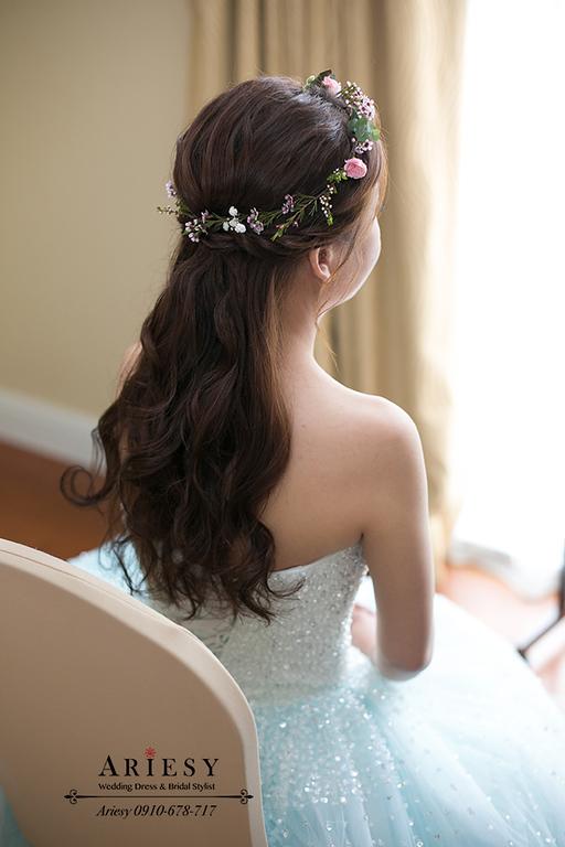 Ariesy愛瑞思婚紗,鄉村風婚禮佈置,水藍色婚紗禮服,大倉久和婚宴,台北新秘推薦,新娘編髮仙女髮型,送客造型