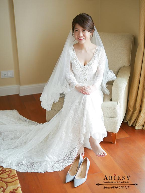 白紗造型,新娘妝髮,Ariesy新娘秘書,愛瑞思台北新秘,新娘造型,第九大道白紗