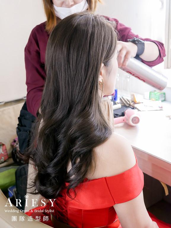 敬酒造型,新娘放髮造型,新娘秘書,紅色禮服造型,時尚造型