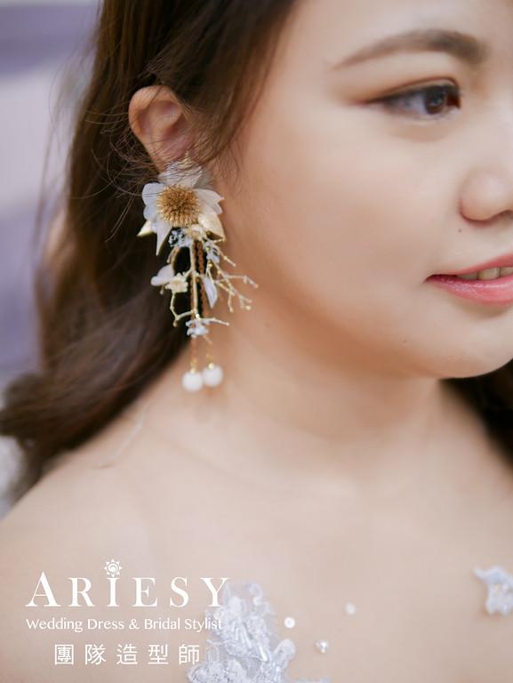 送客造型,放髮造型,花耳環,新秘花藝,水藍色禮服造型