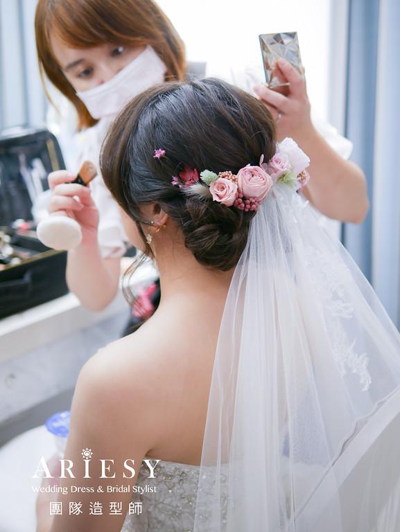白紗進場髮型,鮮花造型,新秘推薦,新秘花藝,新娘髮型