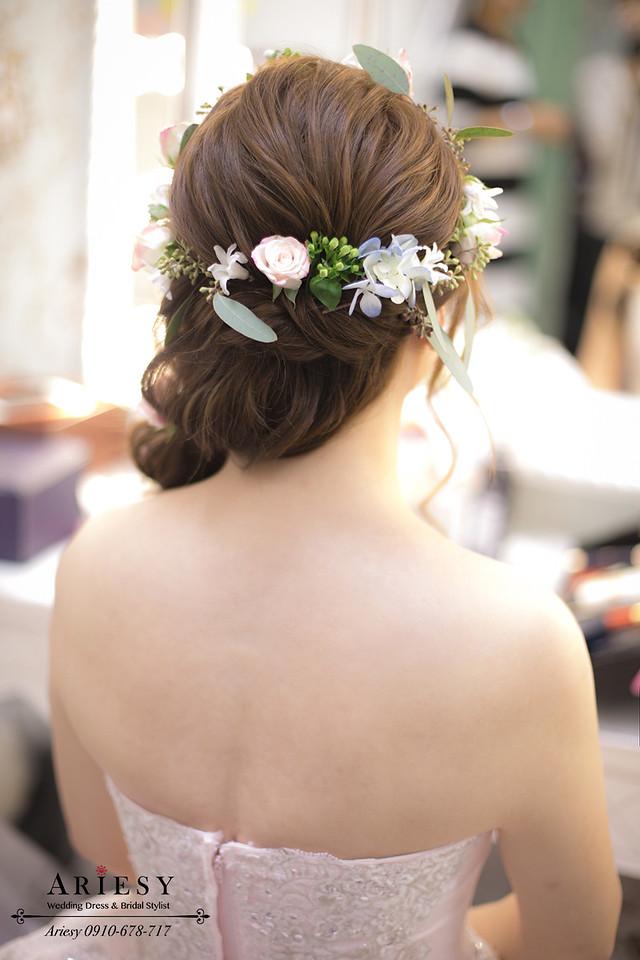 鮮花髮型,花圈造型,日系新娘造型,新娘造型,編髮髮型