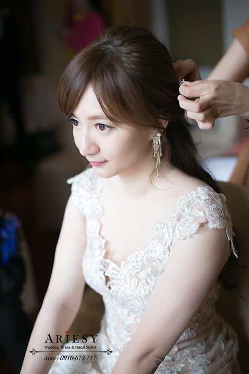 裸粉色禮服,敬酒造型,新娘造型,新娘髮型,愛瑞思,ariesy,大倉久和