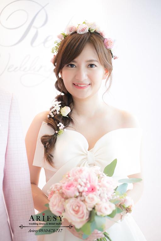 仙女新娘造型,花圈新娘造型,鮮花新秘,大倉久和,愛瑞思,ariesy